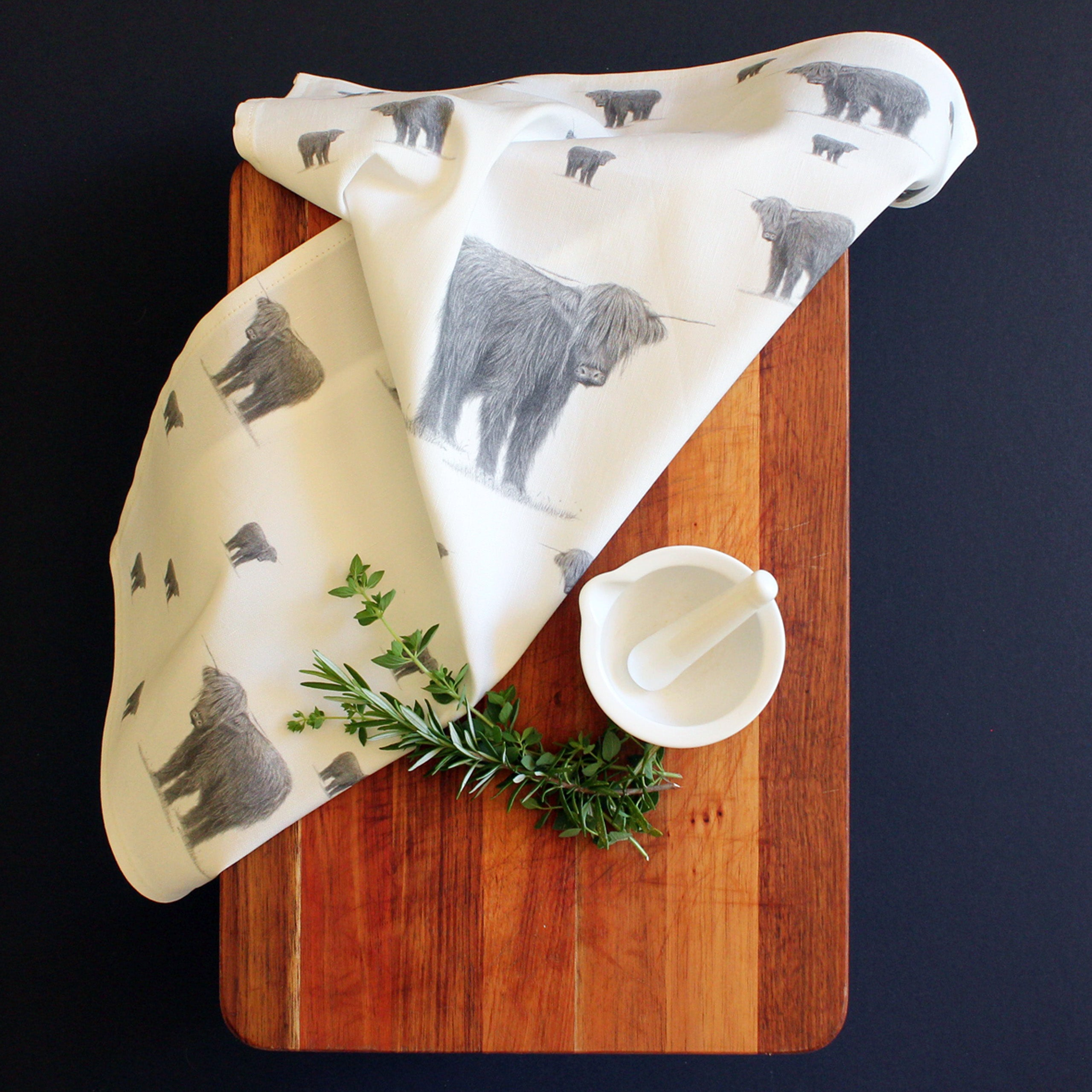 Highland cow tea towel
