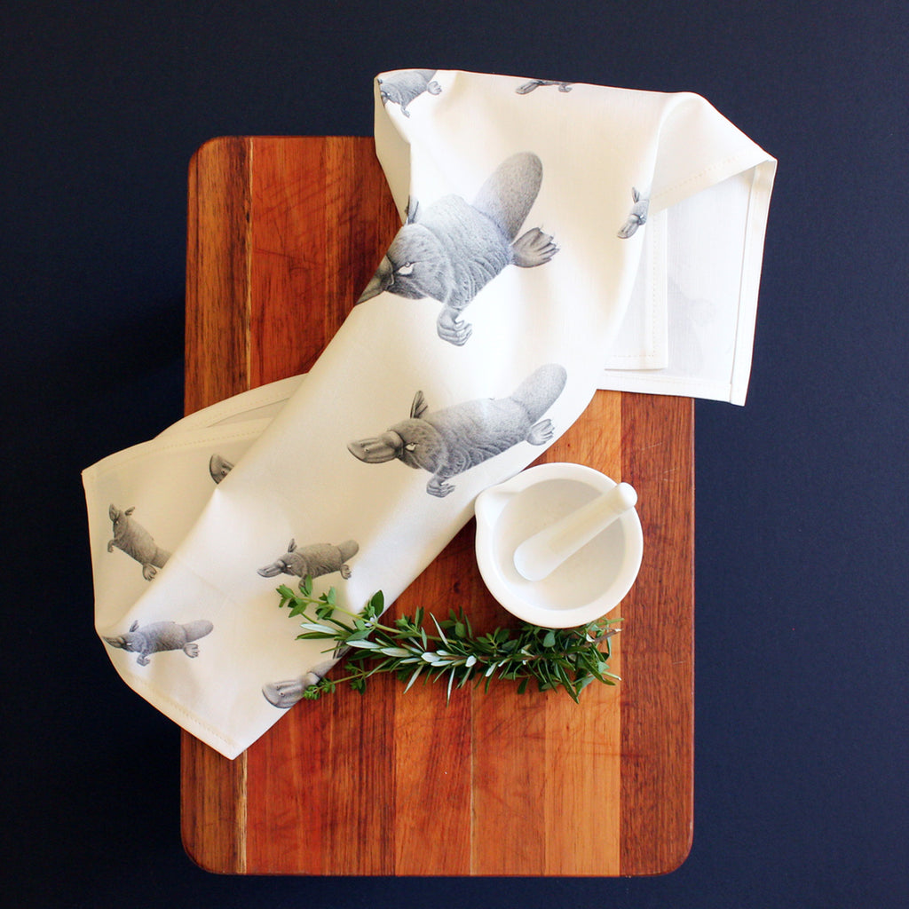 Platypus tea towel