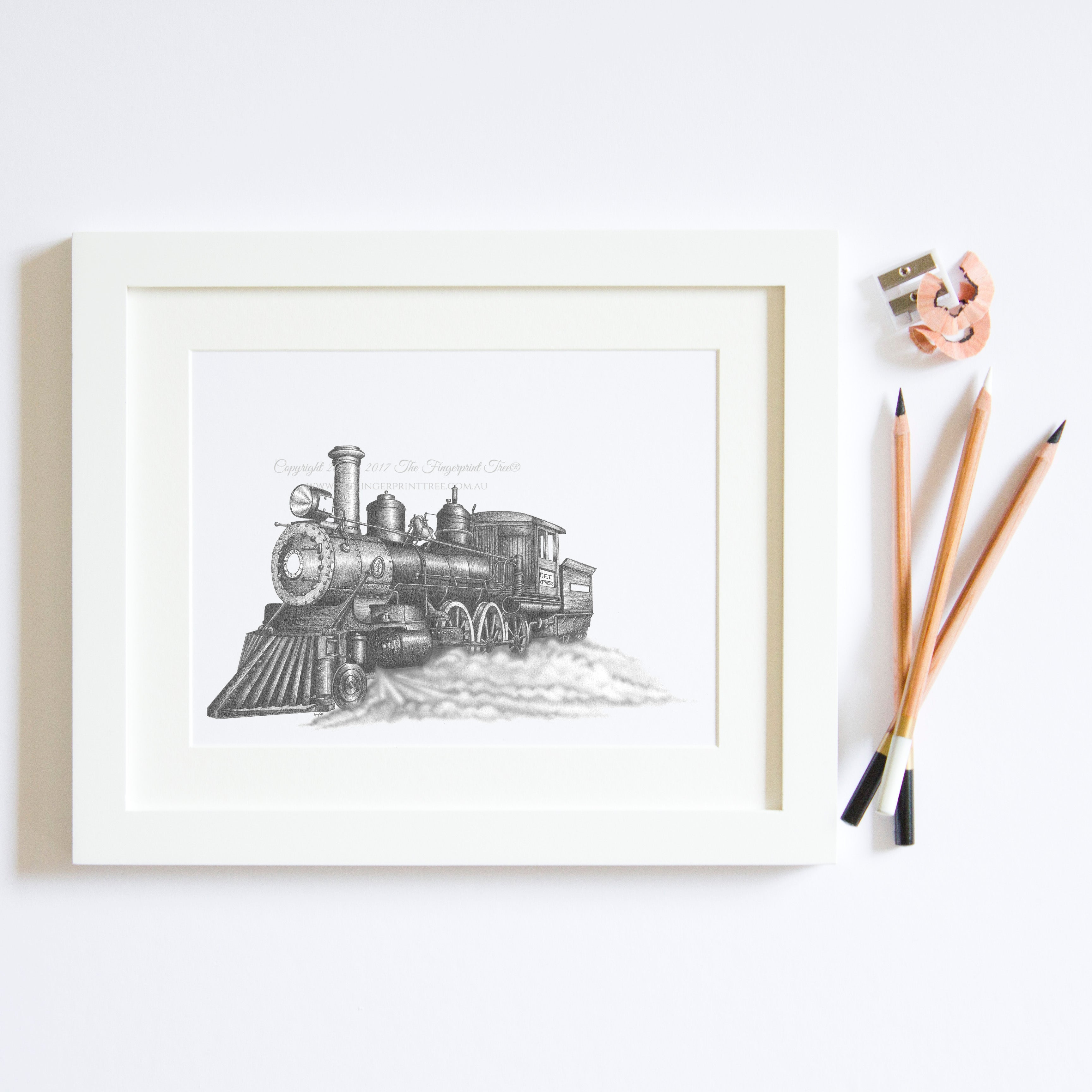 Steam train print