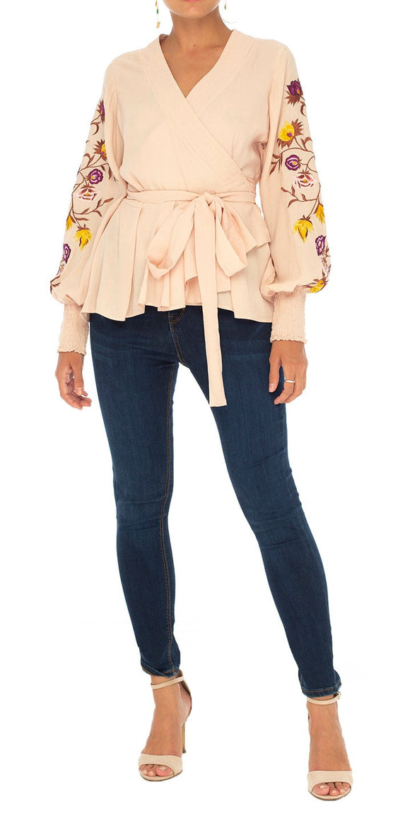Bella Embroidered Wrap Top