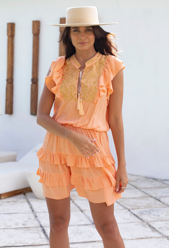 Jasmine Embroidered Frill Dress