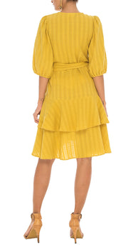 Skylan Mustard Wrap Dress
