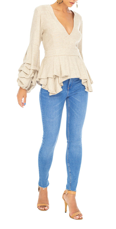 Avery Statement Top in Linen