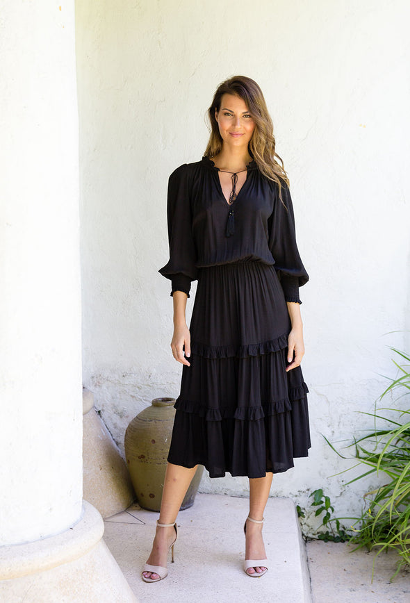 Jupiter Midi Dress with Sleeves