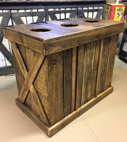 Commercial Rustic Trash and Recycling Receptacle