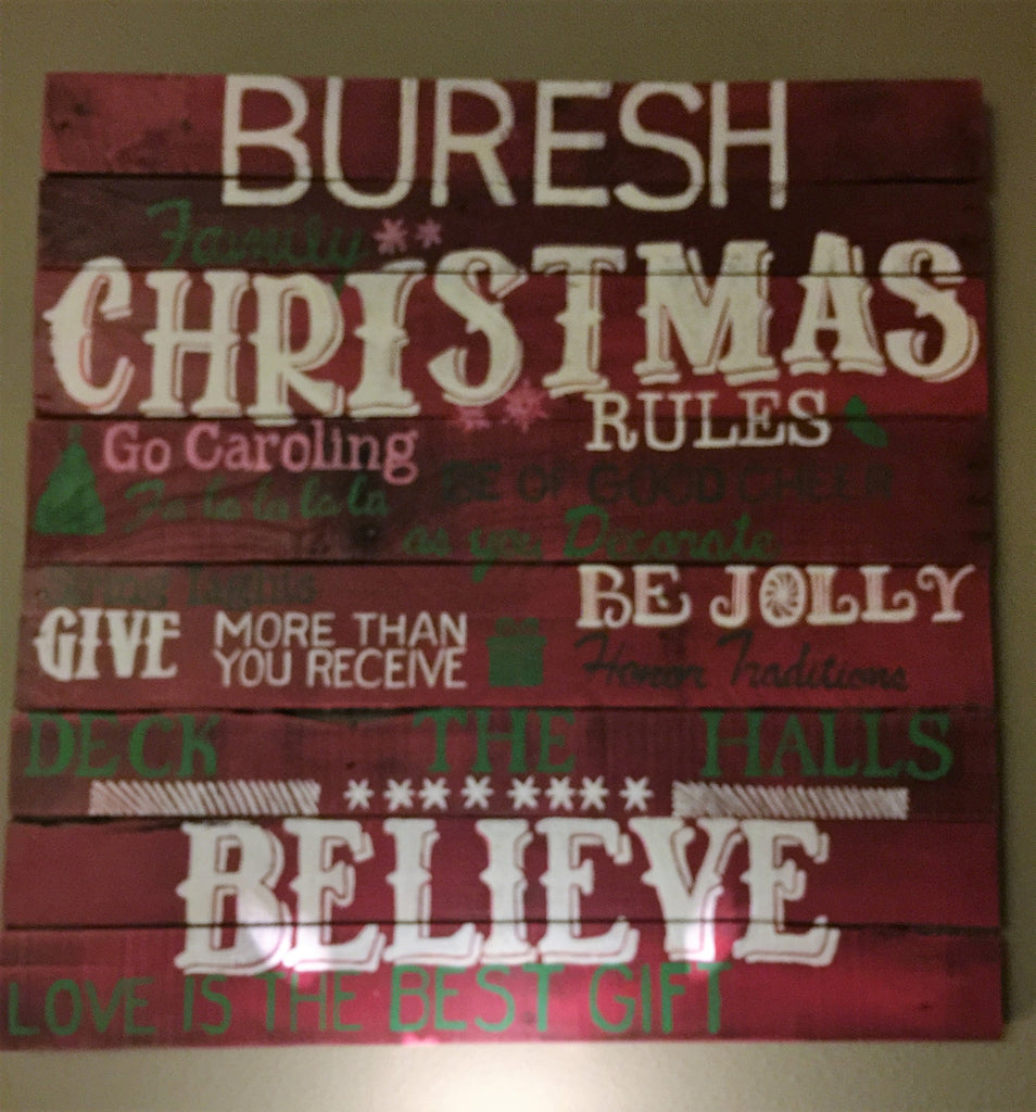 Family Christmas Rules Sign