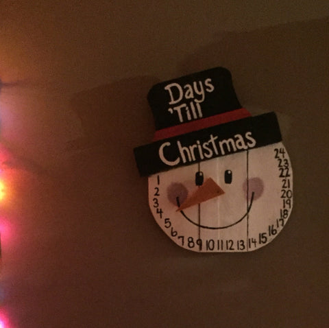 Days till Christmas Snowman Sign