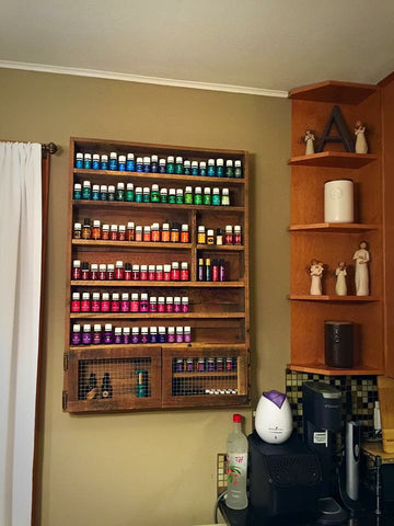 Essential Oils Storage Shelf with Cabinet