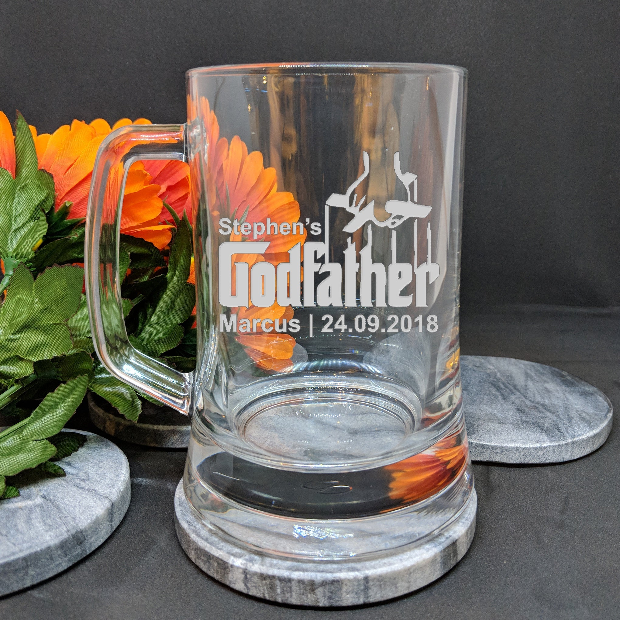 Godparents Beer Glass for Godmother or Godfather