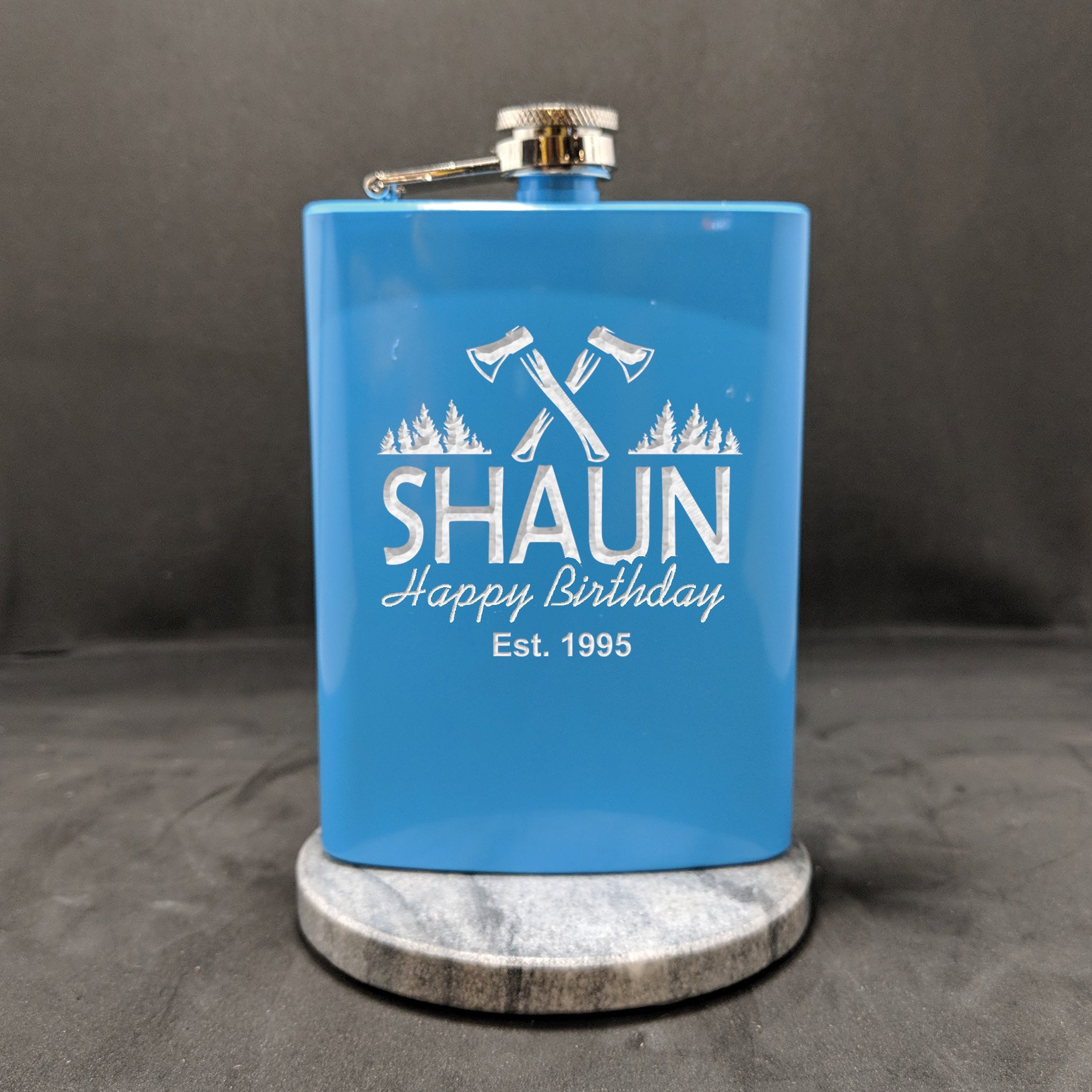 Sky Blue Birthday 8oz Hipflask