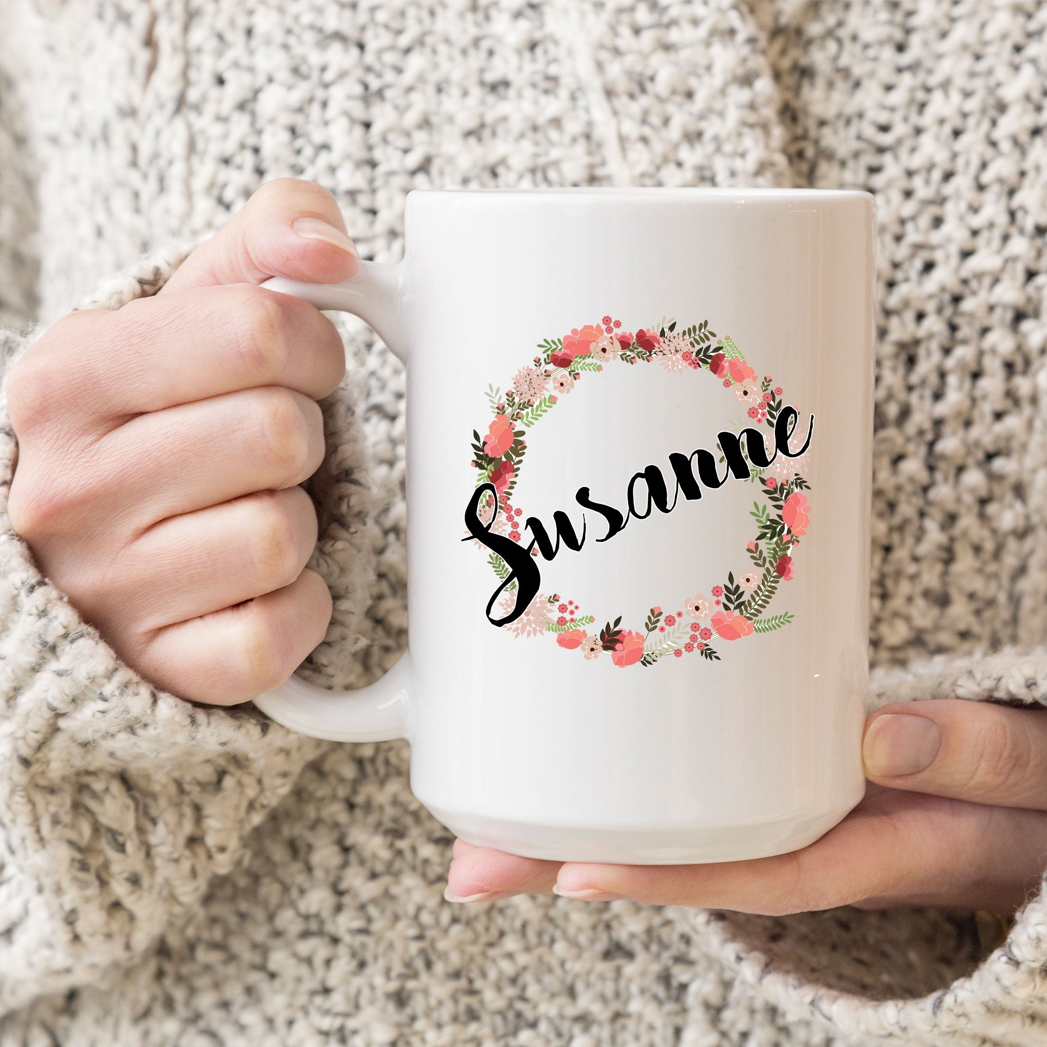 Flower Wreath 15oz Coffee Mug with Name