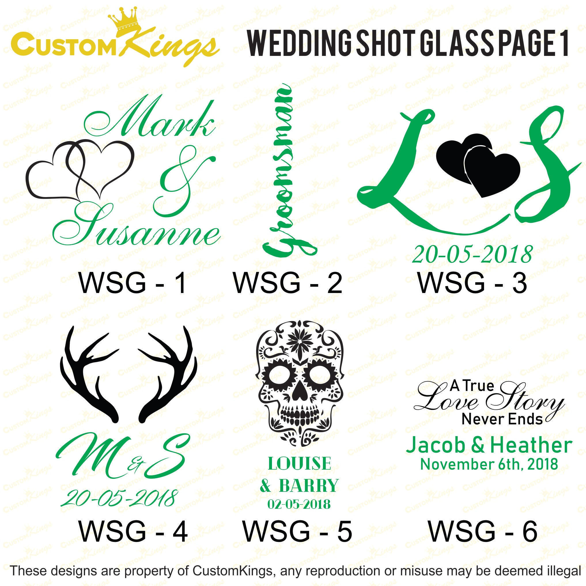 Engraved Wedding 30ml Shot Glasses