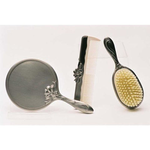 Hr Cbmp - Pewter Brush Comb & Mirror Set Baby Items