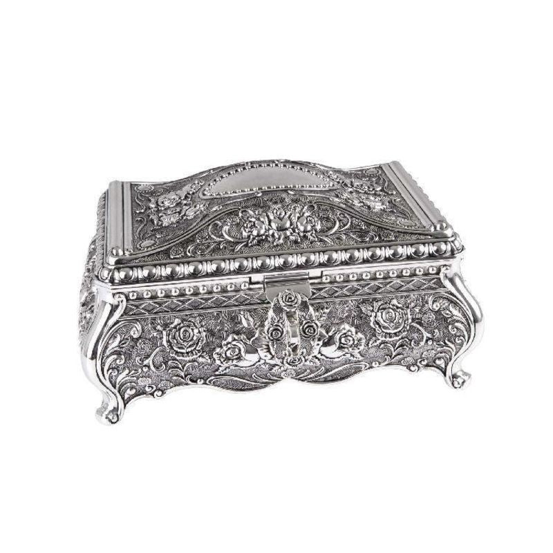 Hr Jk11 - Kate Jewellery Box With Rose Design Silver Plated Jewelry