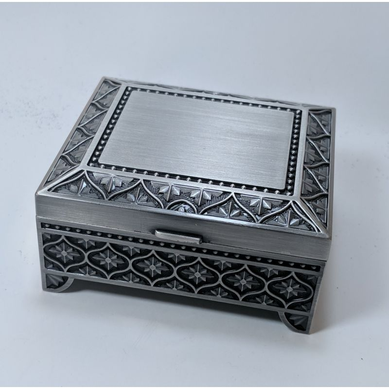Hr Js3Lp - Square 3 Inch Footed Pewter Jewellery Box Jewelry