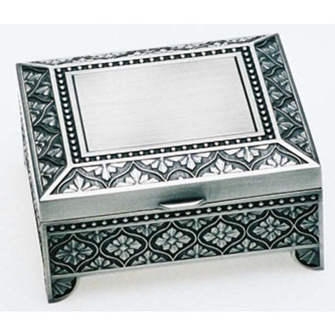 Hr Js4Lp - Square Leaf Pewter Plated 4 Jewellery Box Jewelry
