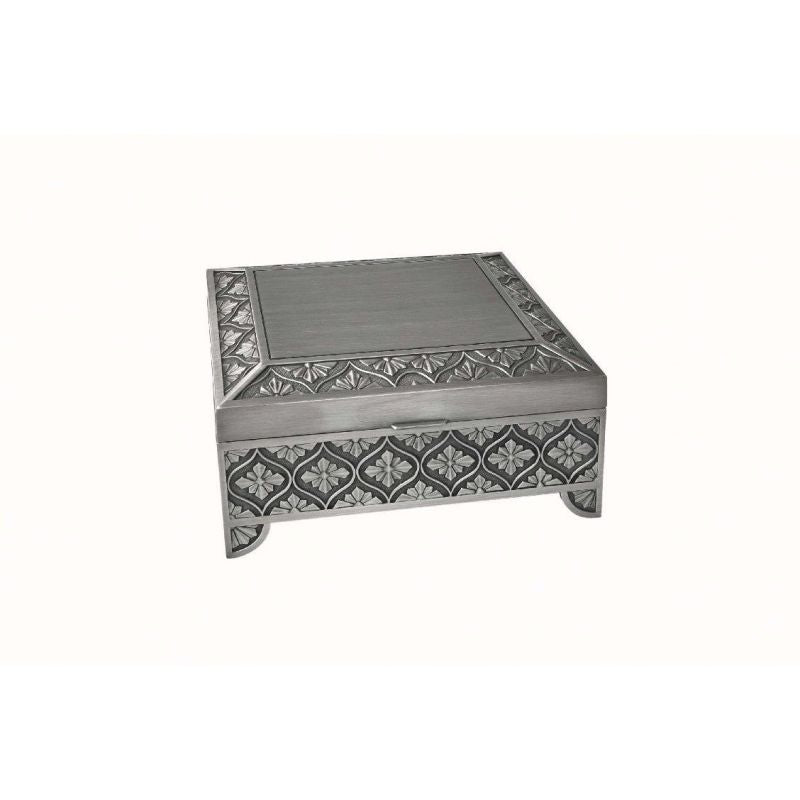 Hr Js7Lp - 7.5 Square Jewellery Box With Leaf Design Jewelry