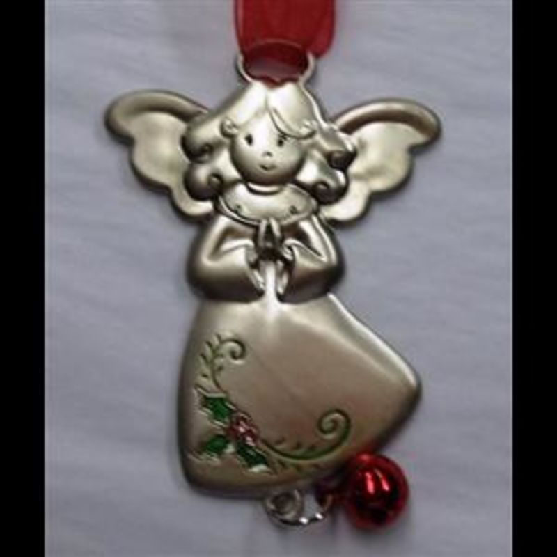 Metal Christmas Ornaments Angel With Bell