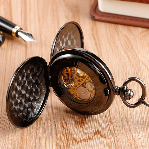 Plain Black Stainless Steel Pocket Watch Men's Gifts