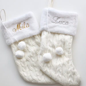 White Personalised Christmas Stockings - Bespoke Baby Co