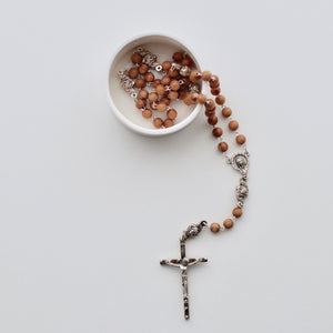 Olive Wood Rosary w/ Silver Hardware - Bespoke Baby Co