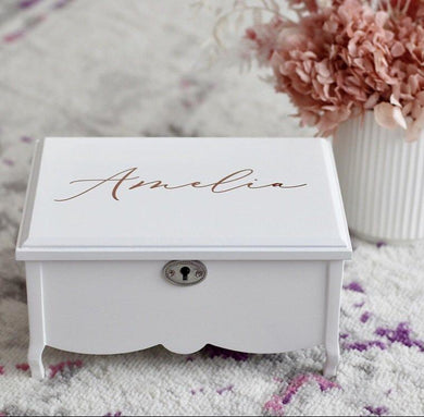 *Pre order* White Jewellery Box - Bespoke Baby Co