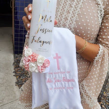 Load image into Gallery viewer, Baptism Candle with Floral Detailing - Bespoke Baby Co
