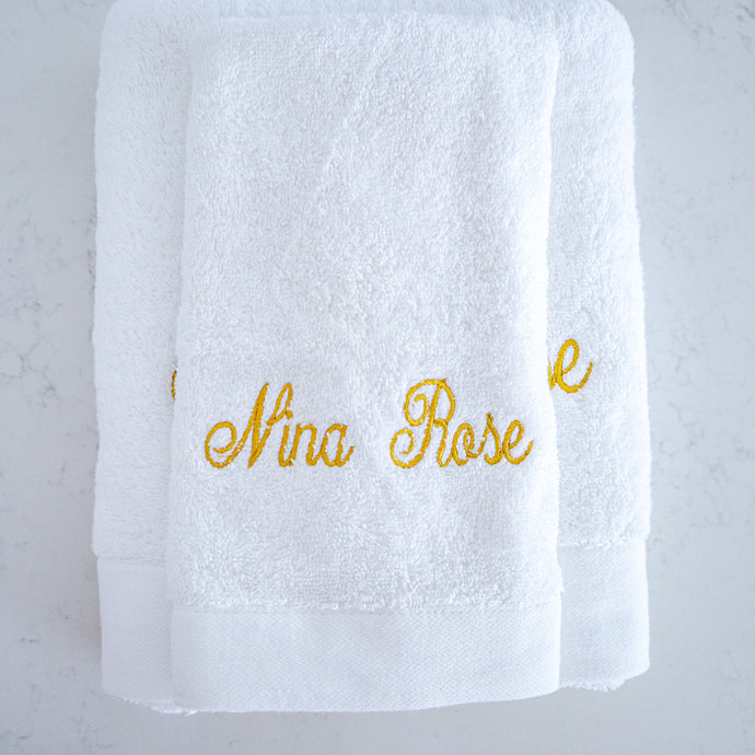 Towel Set - Nina Rose (Mettalic Gold) - Bespoke Baby Co