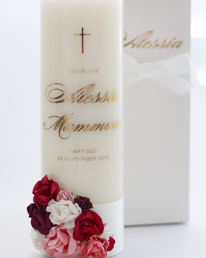 Baptism Candle with Floral Detailing - Bespoke Baby Co