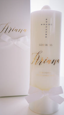 Baptism Candle with Diamante Cross - Bespoke Baby Co