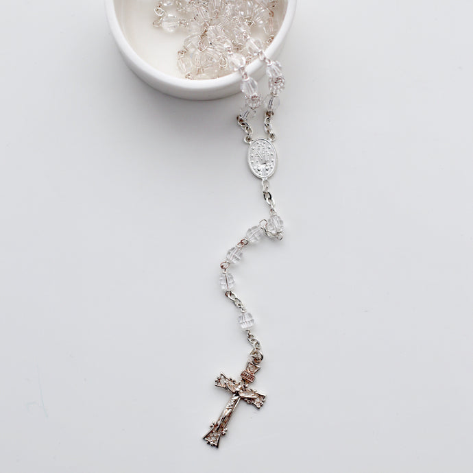 Swarovski Crystal Rosary with Sterling Silver Chain - Bespoke Baby Co