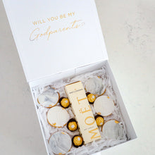 Load image into Gallery viewer, Godparent Cookie & Champagne Gift Box - Bespoke Baby Co