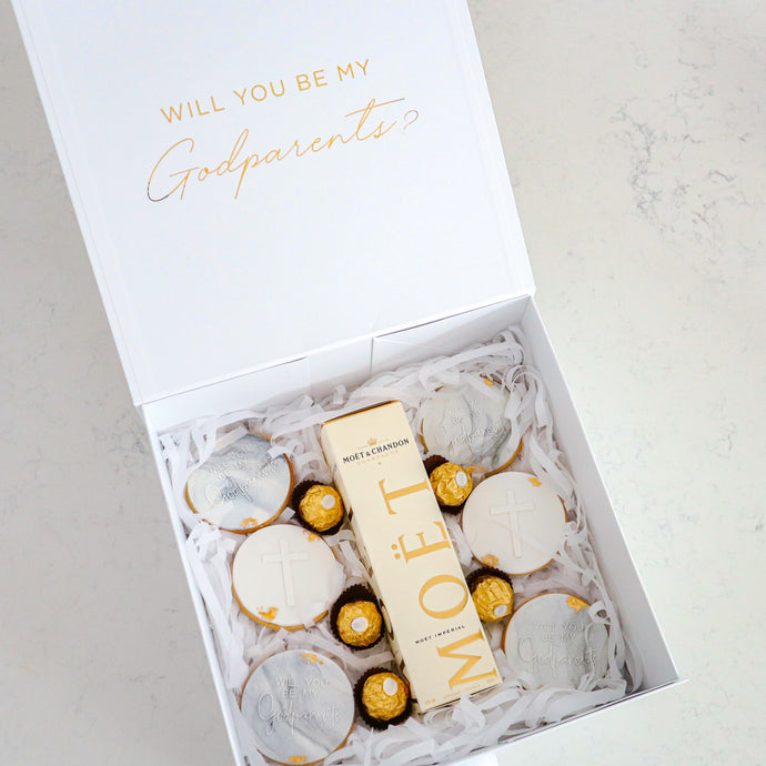 Godparent Cookie & Champagne Gift Box - Bespoke Baby Co