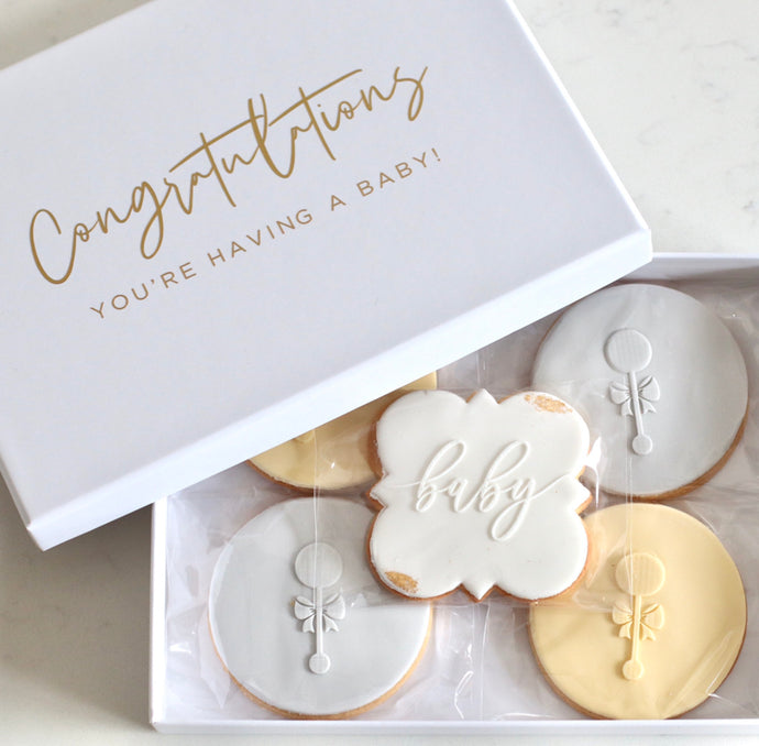 Congratulations Baby Cookie Gift Box - Bespoke Baby Co