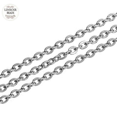 Stainless Steel Oval Flat Cable Chain Bulk - Sissystreasurechest