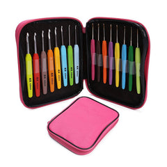 16pcs Multi Colour Crochet Hook Yarn Alu Knitting Needles Set Kit with Box Hand Sewing Tools