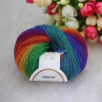 1Ball x50g Knitted Chunky Hand-woven Woolen Rainbow Wool Colorful Knitting Scores Wool Yarn Needles Crochet Weave Thread F3