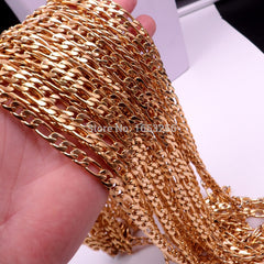 3 Meter IN BULK 7mm wide Gold Stainless Steel Fashion Figaro NK Curb  Link Chain Jewelry Finding /Marking Chain DIY Necklace - Sissystreasurechest