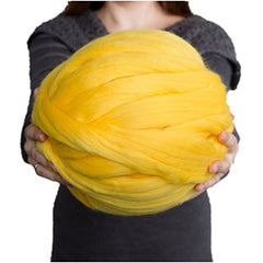 welltree Merino Soft Chunky Wool Yarn For Arm Knitted DIY Your Favorite Thick Blankets ( Yellow - 6.6 lbs ) - Sissystreasurechest