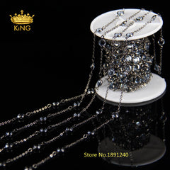 5Meter/lot 10 Color 6mm Bulk Glass Faceted  Round Coin Beads Link Rosary Chains Jewelry with Gun Metal Black Plated LS062 - Sissystreasurechest