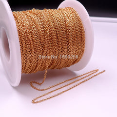 Fate Love in bulk 10 Meter thin 1.8mm Wholesale 18k Gold Stainless Steel Round  Oval Chain Jewelry Finding /Marking Chain DIY - Sissystreasurechest