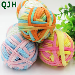 QJH Brand Soft Thick Yarn For Knitting Carpet Hot Sale Handbag Big 8-10mm Crochet Cloth Fancy Yarn lanas para tejer 100g/lot
