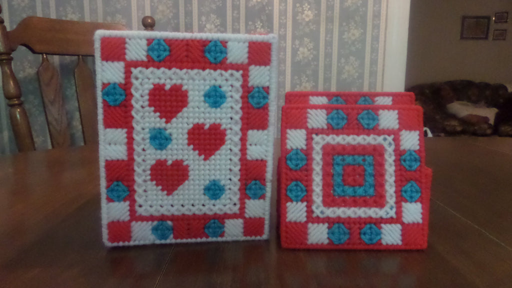 Tissue Box Cover with coasters red hearts, Bathroom Accessories, Tissue Topper - Sissystreasurechest