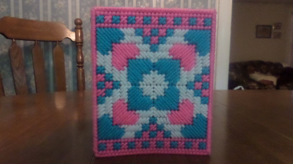 Tissue Box Cover Turquoise and Pink Hearts - Sissystreasurechest