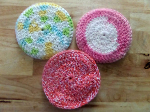 Crochet Scrubbies, Face Scrubbies, Cotton Scrobbies Set of Three