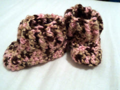 Light and dark brown and pink baby booties