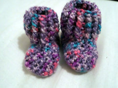 Crochet Baby Booties, Purple baby slippers, Baby Socks 3 to 6 Months - Sissystreasurechest
