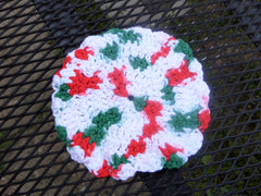 Crochet Christmas Wash Clothes Set, Round Wash Clothes, Dish Clothes - Sissystreasurechest