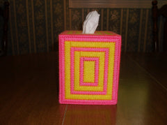 pink and yellow tissue box cover