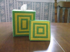 Green and yellow tissue box cover and coaster set